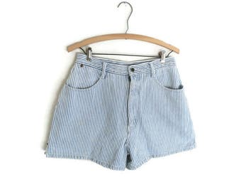 Striped Shorts 90s Denim Train Conductor Stripes Jean Shorts High Waist 1990s Grunge Size 6 8 Medium Summer Mom Style High Waisted