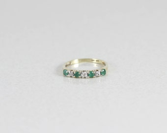 10k Yellow Gold Emerald and Diamond Ring Size 5 1/4