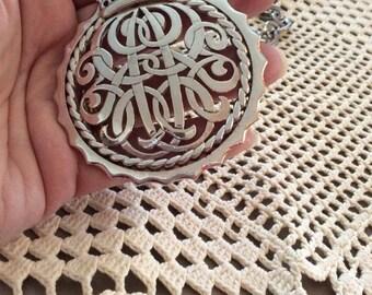 Vintage 1960s 1970s Necklace Pendant Medallion Silver Tone Color Signed Monet