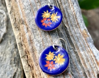 Enameled Copper Earrings in Cobalt Blue with Tiny Wild Flowers