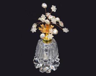 Irice Jeweled Bouquet Perfume Bottle, c1940s AB Rhinestone Flowers and Ornate Brass Filigree Top, Cut Crystal Base, Marked W. Germany