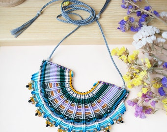 Macrame necklace, statement necklace, micro-macrame jewelry, bib necklace, colorful necklace, beaded collar, fiber jewelry, office style