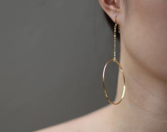 Big hoop Circle earrings - O-ring Dangle earrings / Big circle earrings, statement earrings hoops gold earrings, simple statement earrings