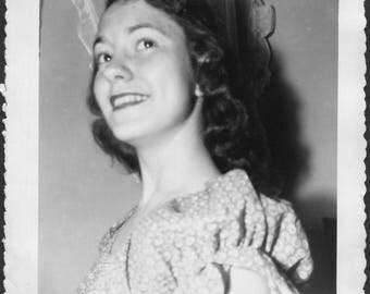 Vintage Photo of Pretty Girl Up Close, 1950's Original Found Photo, Vernacular Photography