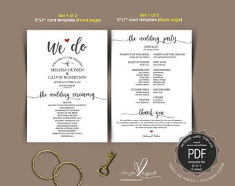 Wedding Program PDF card template, instant download editable printable, Ceremony order card in calligraphy rustic theme (TED404_3)