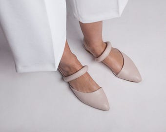 30% off Summer Sale, Leather Sandals, Slip on mules, Slide Sandals, Flat shoes, Leather Mules, Open Back Sandals, Summer Shoes