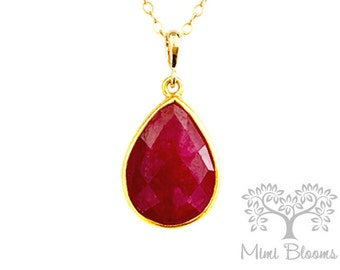 Ruby Pendant Necklace, Large Ruby, Ruby Necklace, Gift for Wife, Her, for friend, jewelry, Gemstone,  gold filled, emerald, large, gold