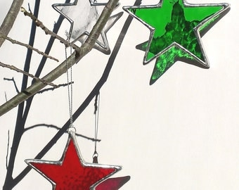 Green Star Christmas Ornament Stained Glass Holiday Home Decor Christmas Star Christmas Decoration Window Ornament Green Glass Star Ornament