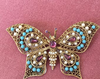Butterfly Brooch, Beaded Butterfly Brooch, Gold Butterfly Brooch