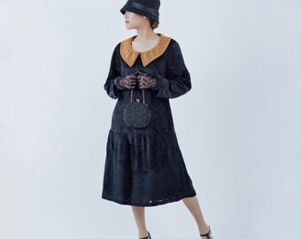 Black 1920s burnout velvet dress with long sleeves and puritan collar, black 1920s flapper dress, black Gatsby dress, black Charleston dress