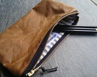 Wax Canvas Pencil Case, Zipped Pouch, Sand/Gold