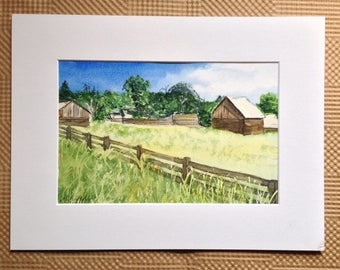 Farm Landscape Watercolor Painting - Field Farm Painting - Old Barn Painting Landscape - Watercolour Farm