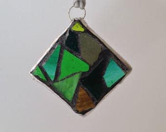 Green Stained Glass Ornament Mosaic - Stained Glass Mosaic Christmas Ornament Green Mosaic - Green Tree Ornament Abstract