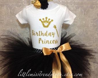 Girls BIRTHDAY PRINCESS Birthday Tutu Set, Black Gold Birthday Set, Black and Gold  Birthday Tutu Shirt Outfit with Headband, Birthday Tutu