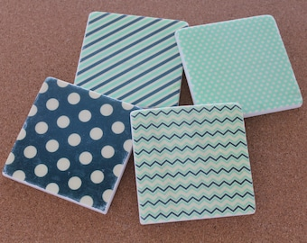 Set of 4 Tumbled Marble Tile Coasters - Navy and Mint Patterns