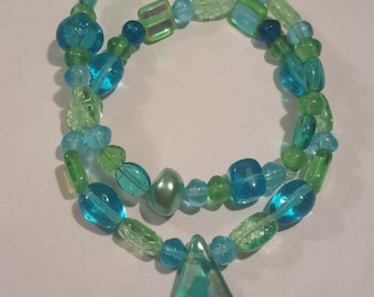 Blue and green beaded bracelets - set of 2 stackable bead bracelets handmade