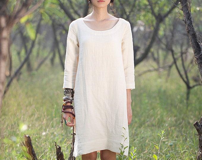 Women long dress - Spring dress - Long Sleeves Dress - Round neck - Linen dress - Made to order