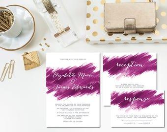 Fuchsia Brushstroke Wedding Invitation Suite
