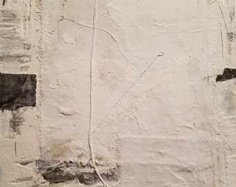 """Original Abstract Mixed Media Textured Minimalist Painting on Reclaimed Wood! """"Absence of Color"""""""
