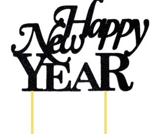 Black Happy New Year Cake Topper, 1pc, New Year, Black Glitter, Handcrafted Party Decor, Party Decoration