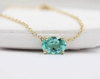 Natural apatite necklace 14k solid gold necklace solitaire necklace gemstone necklace color stone necklace