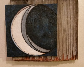 Waning Crescent Moon Shabby Chic Wall Decor with Mini Painting Mounted on Antique Barn Wood / Rustic Contemporary Small Hanging Art