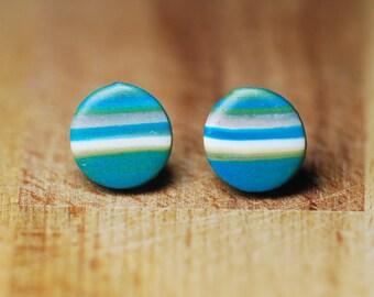 Round Earrings - Polymer Clay Jewellery - Earrings For Sensitive Ears - Plastic Earrings - Planet Earrings - Space Earrings - Gift For Her