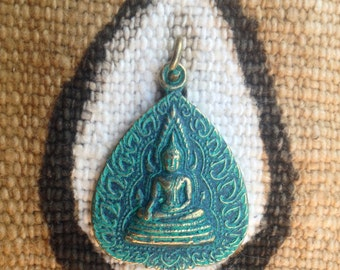 Green Patina Buddha Pendant from Thailand - 1 3/8 Inches - 32 mm