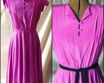 Vintage Orchid Pink Silk Dress, '80s, Pleated Bodice, Short Sleeves, Small