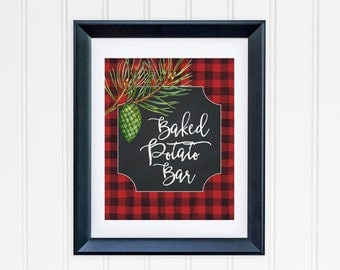 Baked Potato Bar Party Table Sign Printable Buffalo Plaid Table Sign Food Party Sign Buffet Table Sign Red Black Lumberjack Plaid 112