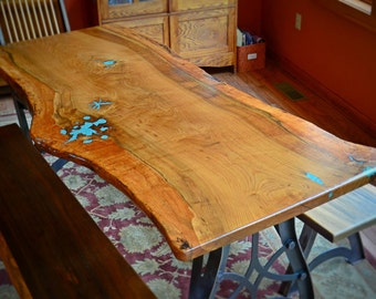 Natural Edge Slab White Oak Dining Table With Turquoise lnlay