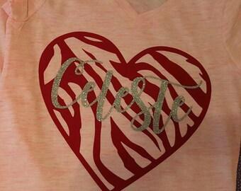 Flocked zebra heart shirt with personalization