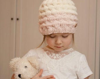 KNITTING PATTERN ombre bun ponytail hat Kaia (toddler /child /woman sizes)