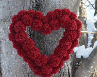 Red Pom Pom Wreath, Red Heart Wreath