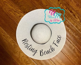 Resting Beach Face floppy Beach Hat, Personalized Straw Hat, Sun hat, Embroidred floppy hat, Beach Hat, Straw Beach Hat, Straw floppy hat