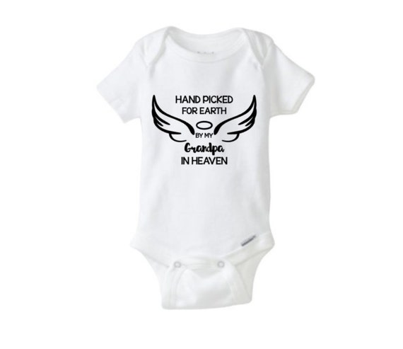 Handpicked For Earth By My Grandpa In Heaven Baby Onesie