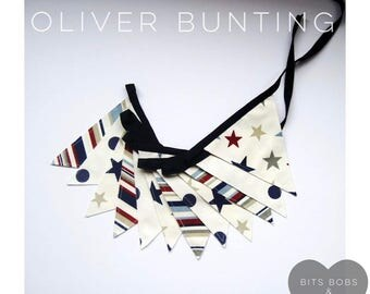 Oliver Bunting - Fabric Bunting - Nursery Decor/ Kids Bedroom Decor/ Playroom Decor/ Red White Blue