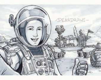 ORIGINAL - Curiosity Rover and Bucky Barnes selfie - (Transmissions From Mars fic art)