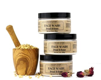 Bread & Roses Face Wash and Mask, organic cleansing grains, facial mask, face scrub, sensitive skin masque, dry skin cleanser, 3 oz.
