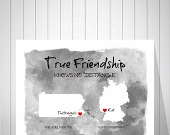 BFF Long Distance Watercolor Map | Two Countries Map | True Friendship Gift | Long Distance Heart Trail | Quote Print - 39177