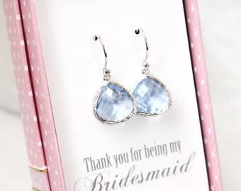 Light blue earrings, Blue stone dangle earrings, Bridesmaid gift, Bridal earrings, Maid of honor gift, Gift earrings, Wedding earrings,