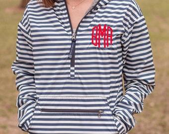 Monogrammed Striped Pullover | Monogram Rain Jacket | Monogram Pullover | Light Weight Jacket | Monogrammed Jacket | Nautical Stripe Jacket