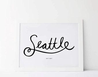 Seattle Art Print, Seattle Skyline, City Print, Seattle Print, Office Art,Seattle Art Print, Apartment Decor, Office Wall Art, Printable Art