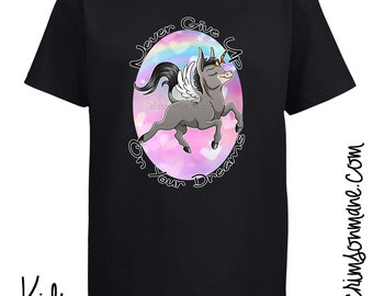 Cute Unicorn Donkey T-Shirt - Never Give Up On Your Dreams