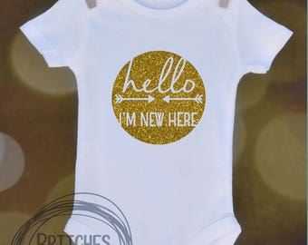 Hello I'm New Here // Baby Apparel, Toddler Shirts, Trendy Baby Clothes, Cute Baby Clothes, Baby and Toddler Clothes