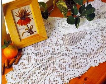 Filet Crochet Centerpiece Pattern PDF 35'' Long Centerpiece Doily Table Center Crochet Home Decor Doily Instant Digital Download - 2170