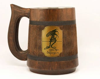 Green Dragon mug 23Oz, Mens gift, Lord of the Rings stein, Boyfriend gift, Hobbit mug, The Green Dragon Pub Inspired tankard, Geeky Gift