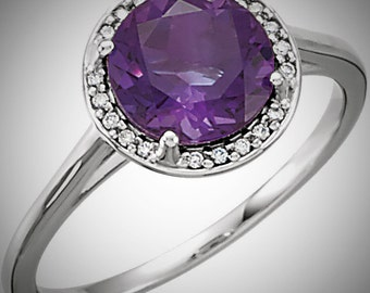 14K White Gold 2 Carat Genuine Amethyst & .05CTW Diamond Halo Birthstone or Engagement Ring
