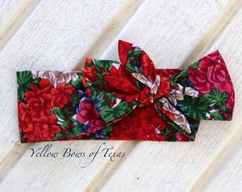 Limited Edition Prairie Bloom Wrap: Red Flower Print, Handmade 100% Cotton Fabric Head Wrap, One Size Fits Baby to Adult