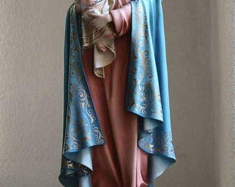 Madonna Holding Baby Jesus w Glass Beads Rosary Virgin Mary Glass Eyes Statues Spain Religious Antiques /406